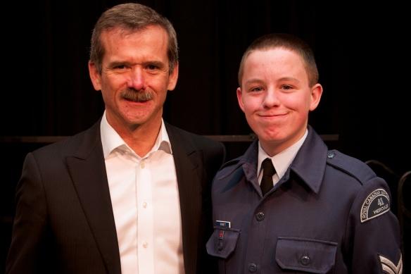 Cpl Bennett with Commander Hadfield